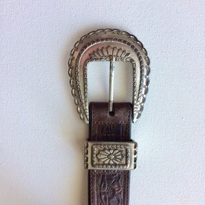 Heavy Sterling Silver Hand tooled Leather Belt